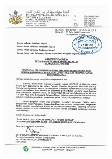 APN Bil2 - Kebenaran Kelulusan Khas Bagi Melawat Negeri-negeri yang Disahkan Mempunyai Kes Positif Covid-19 Kepada Penjawat Awam Negeri Kelantan