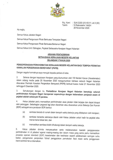 APN Bil03-Pengoperasian Perkhidmatan Kerajaan Negeri Kelantan Bagi Tempoh Perintah Kawalan Pergerakan Bersyarat (PKPB)