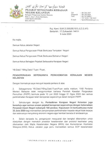 Surat Makluman Pengoperasian Sepenuhnya Perkhidmatan Kerajaan Negeri Kelantan