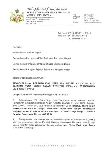 SKM Pengoperasian Perkhidmatan Kerajaan Negeri Kelantan Bagi Jajahan masih Dalam PKPB