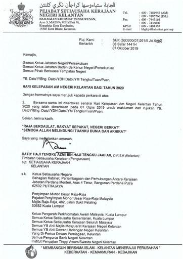Hari Kelepasan Am Negeri Kelantan Bagi Tahun 2020